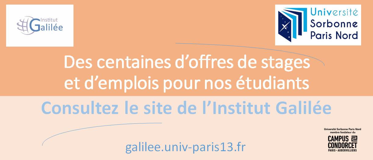 Offres de stages et d'emplois à l'Institut Galilée